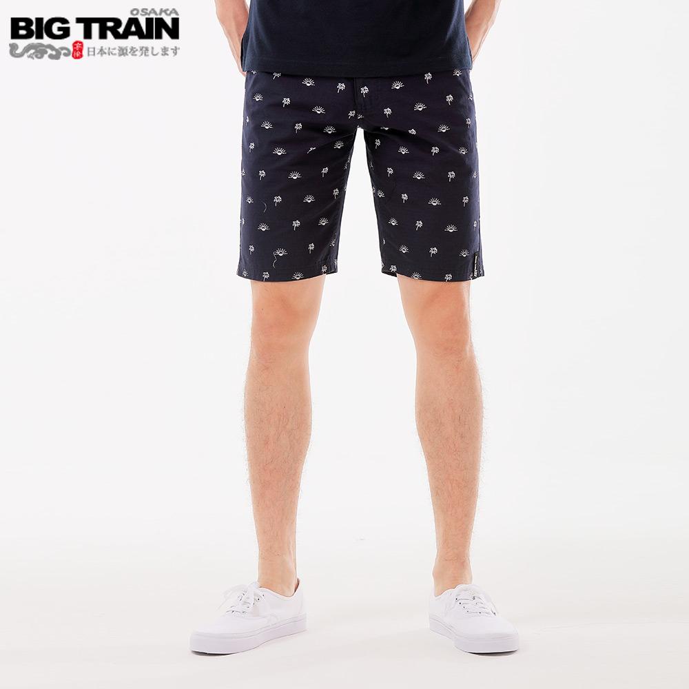 BigTrain 加大吸濕排汗布紋印花短褲-男-丈青