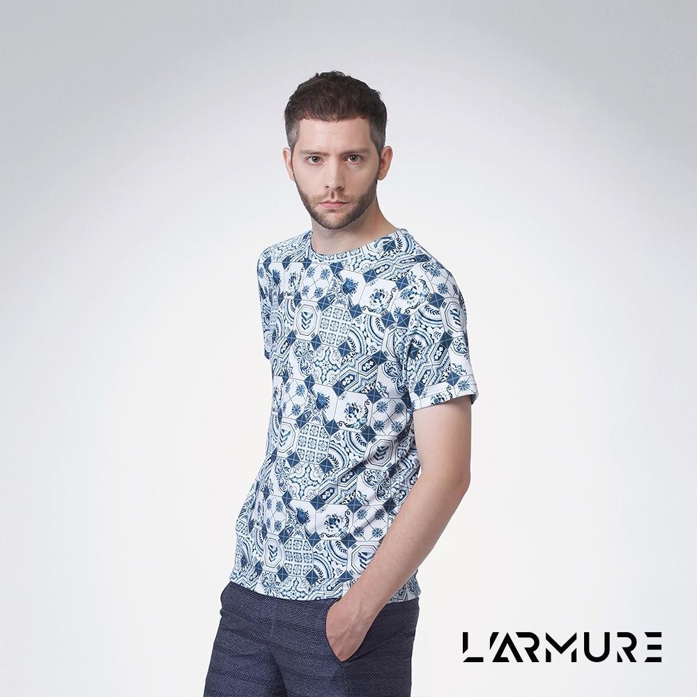 L'ARMURE 男裝 滿版印花T恤 (花磚)