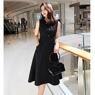IMStyle 時尚修身連身洋裝(黑色)