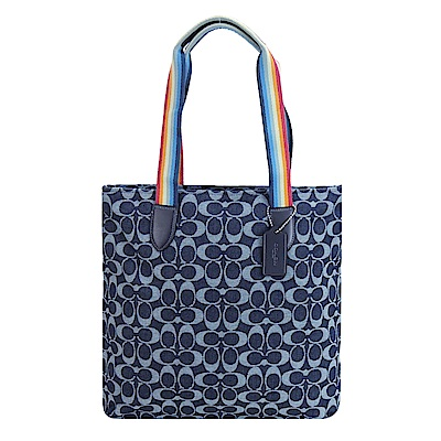 COACH 彩虹寬帶單寧緹花購物包(藍)