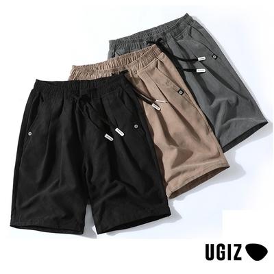 UGIZ男裝-時尚潮流簡約口袋撞色鬆緊繫繩造型五分褲-3色(M-2XL)