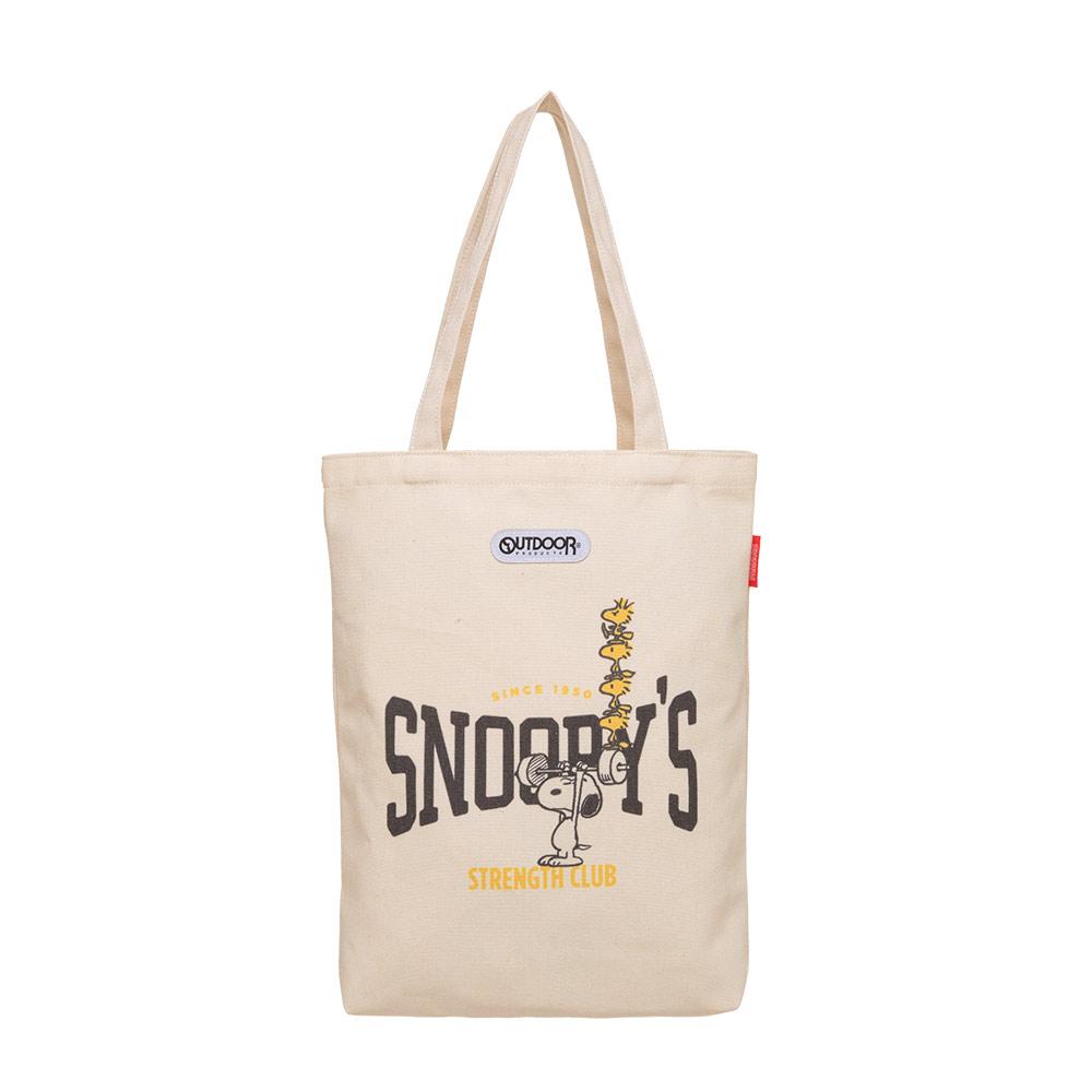【OUTDOOR】SNOOPY聯名款帆布肩背包-舉重款 ODP21D01BG