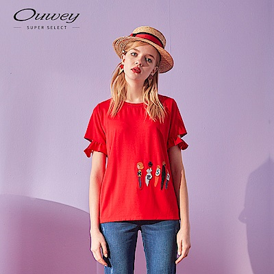 OUWEY歐薇 童趣貼布刺繡造型上衣(黑/紅)