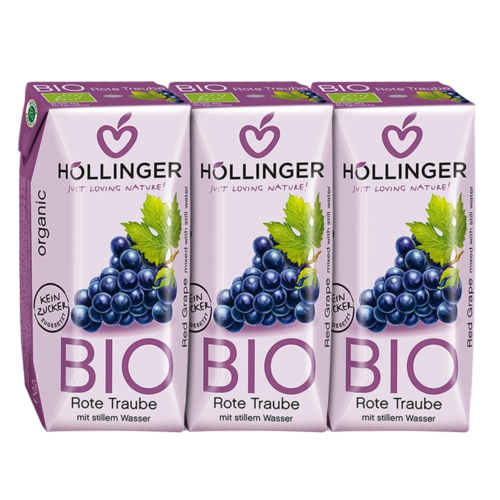 HOLLINGER 荷林阿爾卑斯有機鮮榨紅葡萄汁3瓶 (200ml/瓶)