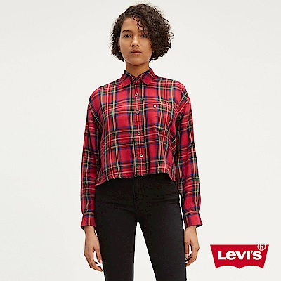 Levis 女款 格紋襯衫 中短版 微落肩設計