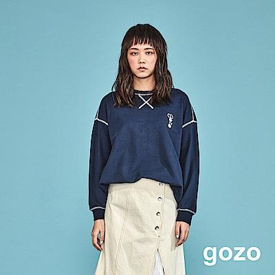 gozo 配色車線品牌刺繡上衣(二色)