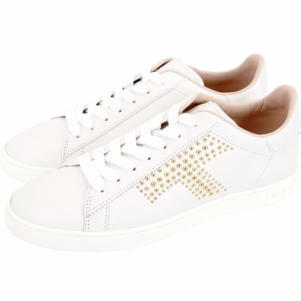 TOD'S T字鉚釘拼色繫帶運動鞋(白色)