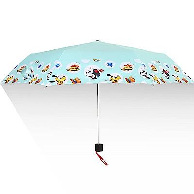 迪士尼Disney 抗UV黑膠晴雨三折傘_派對時光淺藍