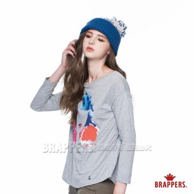 BRAPPERS 女款 彩色人臉印刷長袖上衣-麻灰