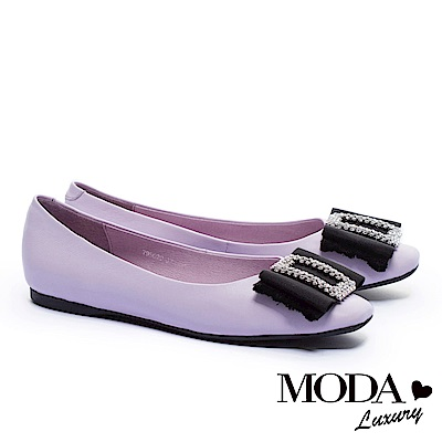 平底鞋 MODA Luxury 柔美雅緻璀璨白鑽方飾釦真皮方頭平底鞋-紫