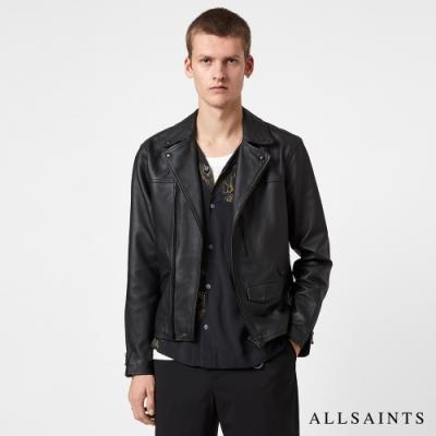 ALLSAINTS ROSO 經典時尚霧面金屬配件柔軟羊皮騎士皮衣外套-黑