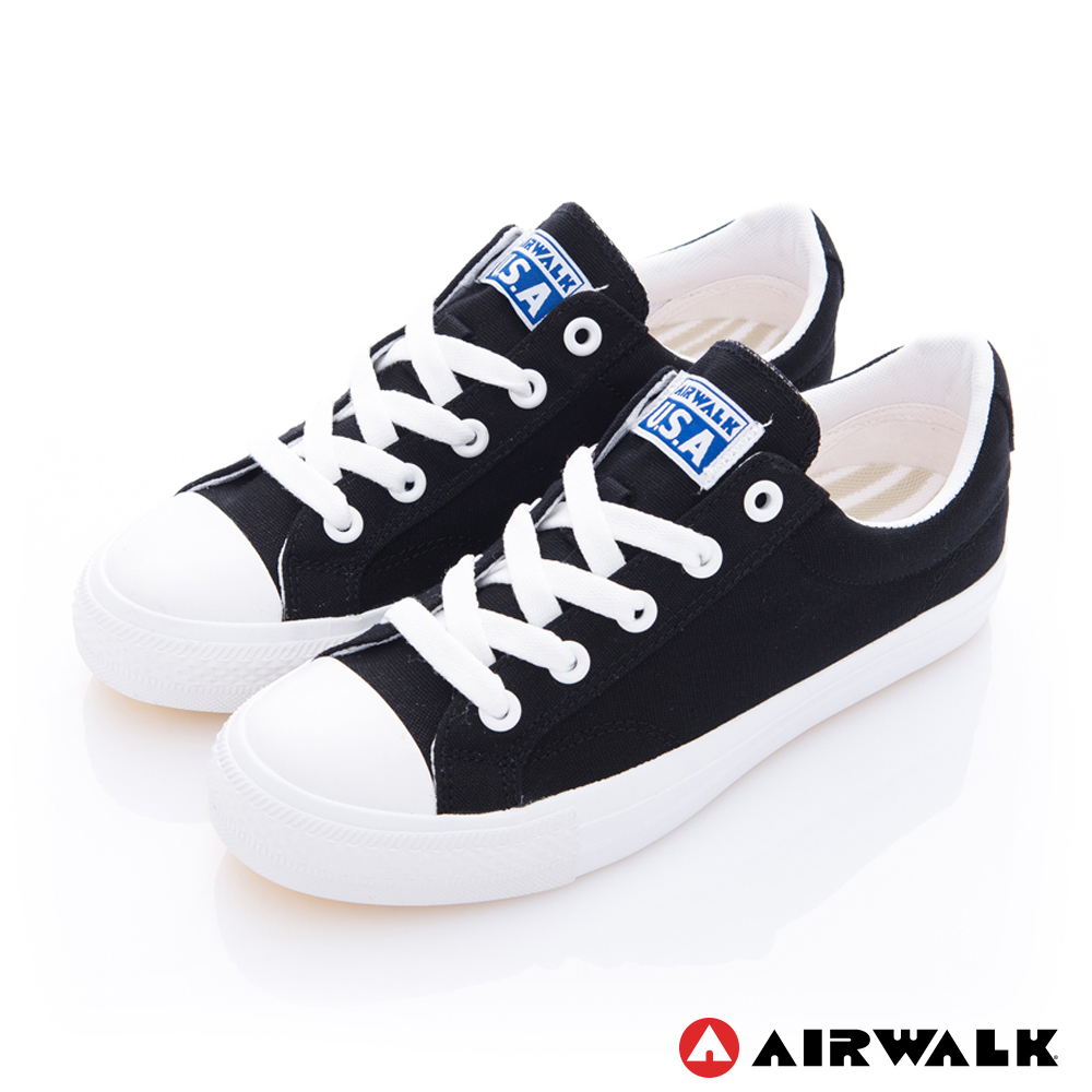 【AIRWALK】可愛圓頭青春百搭帆布鞋-黑