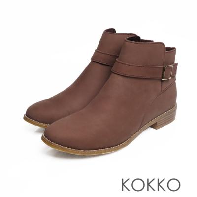KOKKO - 暖暖依偎圓頭牛皮中筒短靴 - 太妃糖棕