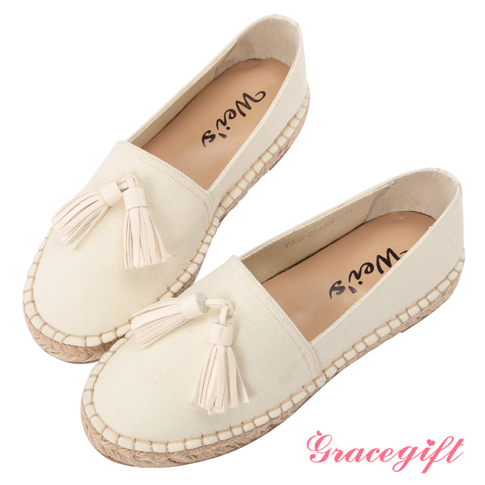 Grace gift X Wei-聯名異材質流蘇素面麻編鞋 米白