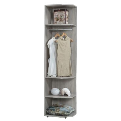 【AT HOME】日式簡約1.5尺鋼刷淺灰色轉角開放衣櫃/收納櫃(清心)