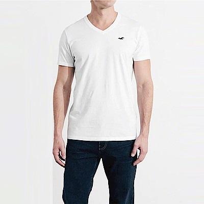 HCO Hollister 海鷗 經典海鷗標誌V領短袖素面T恤-白色