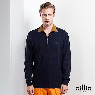 歐洲貴族 oillio 長袖毛衣 紳士立領 素面毛衣 深藍色