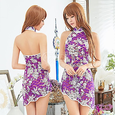 Sexy Cynthia角色扮演 花漾紫白立領削肩旗袍角色扮演服二件組-紫F