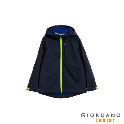 GIORDANO 童裝softshell輕刷毛連帽防風外套-97 靛藍