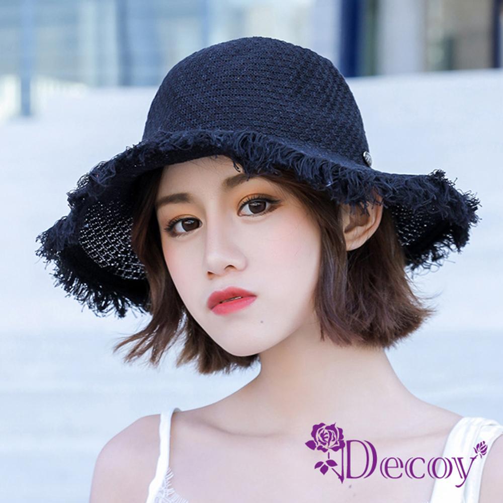 Decoy 空靈少女 編織夏季防曬遮陽草帽漁夫帽 黑