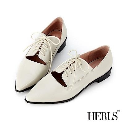 HERLS 法式女紳 全真皮馬甲鏤空尖頭牛津鞋-灰米色