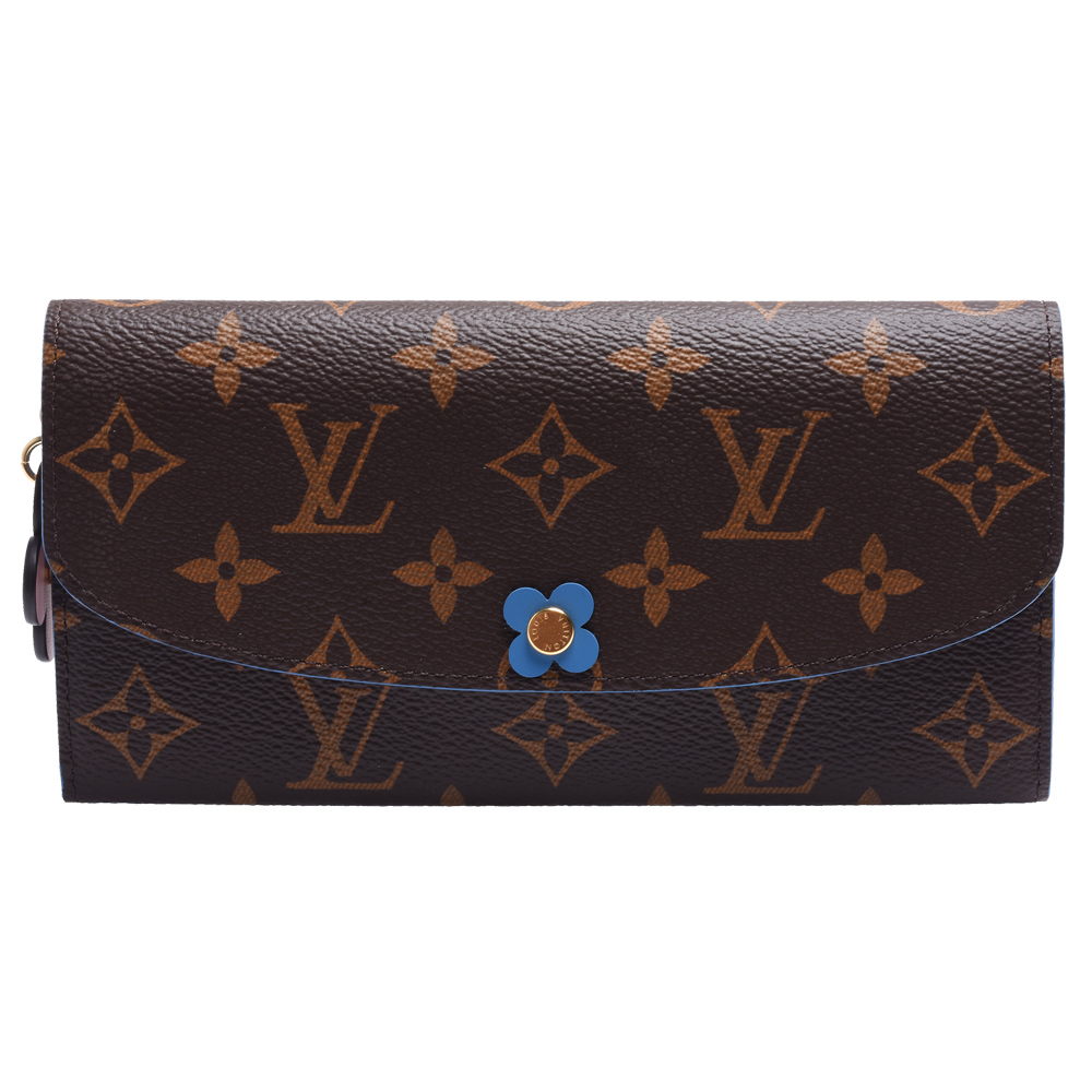 LV M63895經典EMILIE系列Monogram帆布花卉暗釦長夾(牛仔布藍色)