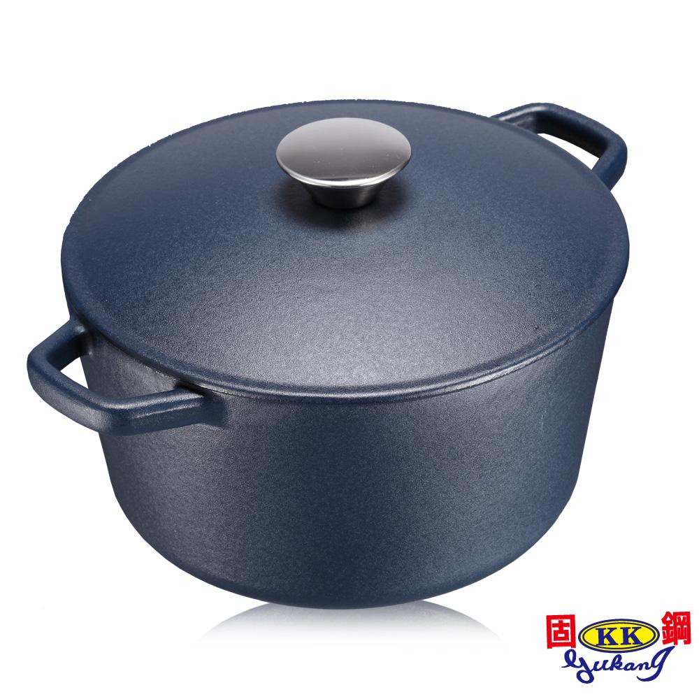 固鋼 日式輕量鑄鐵鍋 (深藍)-20cm