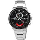 CASIO EDIFICE 決勝巔峰計時日本機芯防水不鏽鋼手錶-黑紅色/43mm