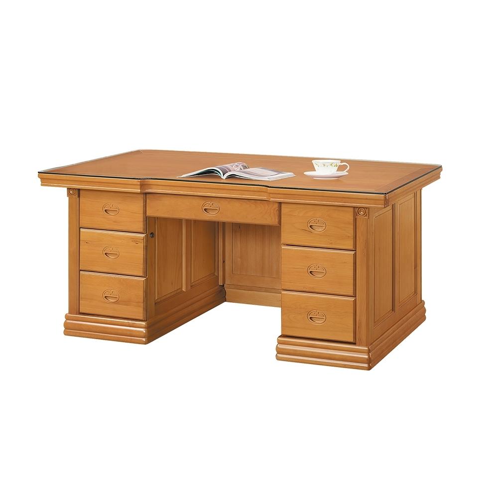 柏蒂家居-伊德5.8尺辦公桌/書桌/工作桌(附強化玻璃)-175x83x82cm