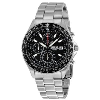 SEIKO精工   寰宇世界三眼專業飛行腕錶(SND253P1)-黑面x39.5mm