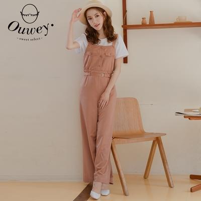 OUWEY歐薇 光滑質感造型連身吊帶褲(粉)3212397604