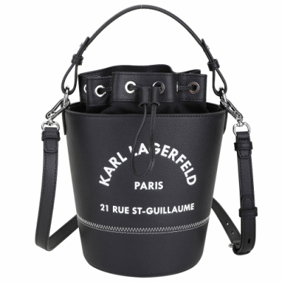 KARL LAGERFELD Rue St Guillaume 住址系列牛皮手提斜背水桶包(黑色)