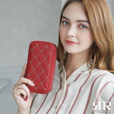 2R 荔紋牛皮 Group 鉚釘設計小斜背包 亮眼紅