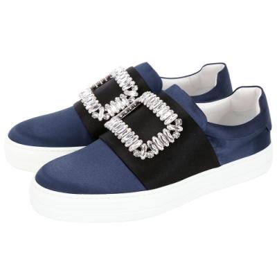 Roger Vivier Sneaky Viv 水晶方框撞色絲緞便鞋(黑x藍)