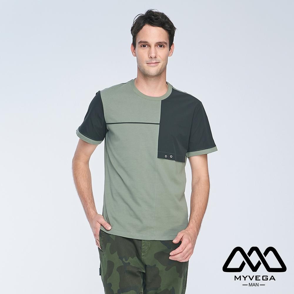 MYVEGA MAN異素材剪接寬鬆短袖T恤-綠