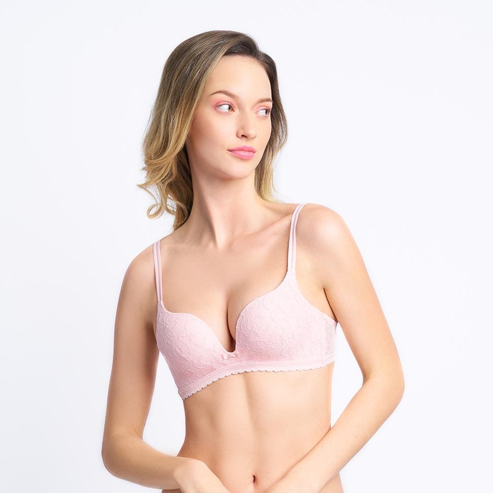 黛安芬-俏麗佳人系列 記憶枕低V無鋼圈 B-C罩杯內衣 玫瑰粉