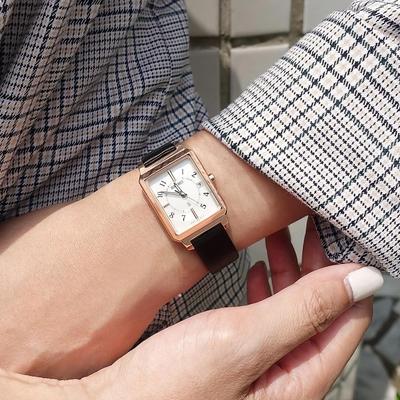 SEIKO 精工 LUKIA 太陽能 電波錶 萬年曆 日期 皮革手錶-白x玫瑰金框x黑/24mm