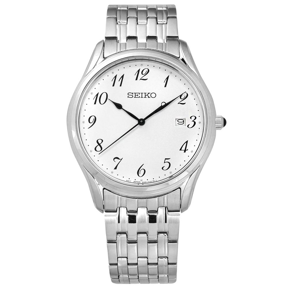 SEIKO 精工 簡約時尚 藍寶石水晶玻璃 日期 不鏽鋼手錶-白色/29mm