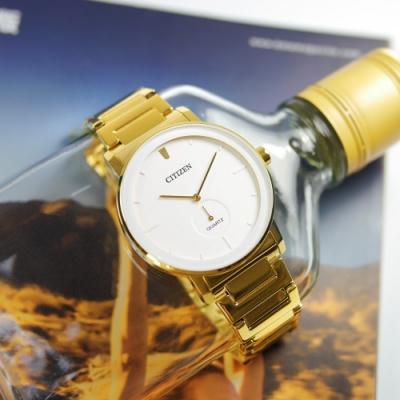 CITIZEN 簡約時尚 日本機芯 不鏽鋼手錶(BE9182-57A)-白x鍍金/42mm