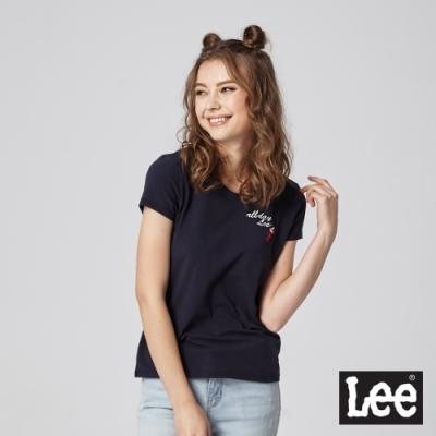 Lee 短T  all day Lee 霜淇淋刺繡 女 藍