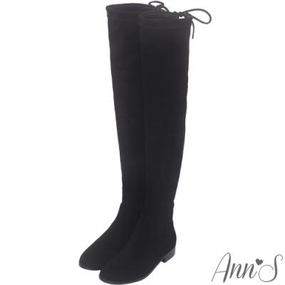 Ann'S貼腿版-獨創防滑膠條超窄版過膝靴-細絨黑