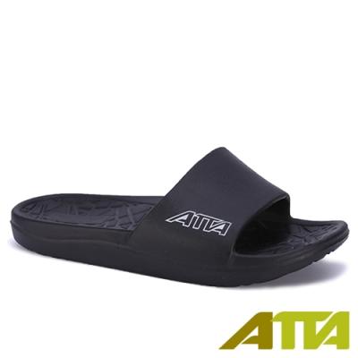 ATTA 舒適幾何紋室外拖鞋-黑色