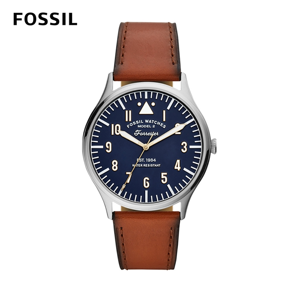 FOSSIL FORRESTER 三針個性時刻皮革男錶-棕色 42MM FS5611