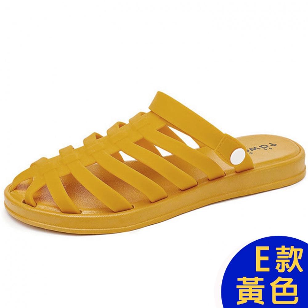 [時時樂限定]-KW韓國美鞋館 晴雨兩穿防水懶人鞋涼鞋涼跟鞋 (E款-黃)