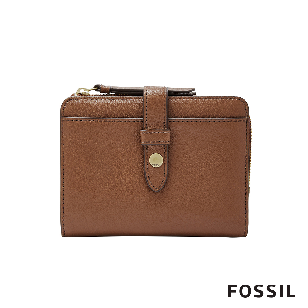 FOSSIL FIONA 金釦設計多卡拉鍊零錢短夾-咖啡色
