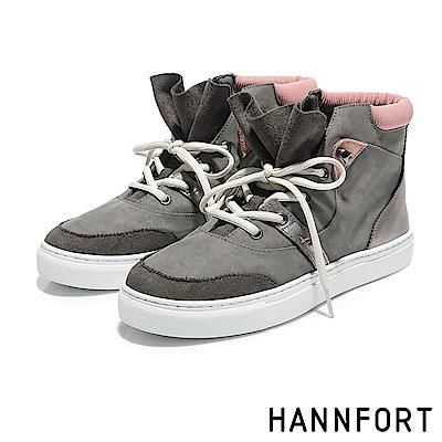 HANNFORT CAMPUS荷葉領結高筒尼龍休閒鞋-女-粉繡灰