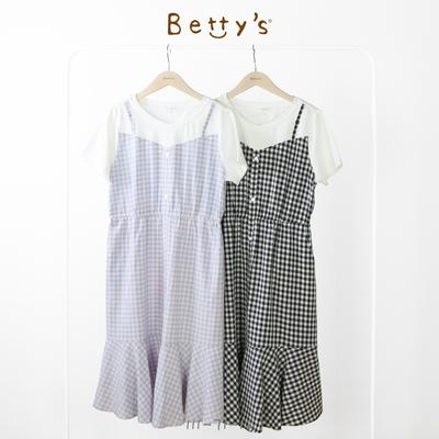 betty's貝蒂思 彩格拼接假2件洋裝(粉藍格)
