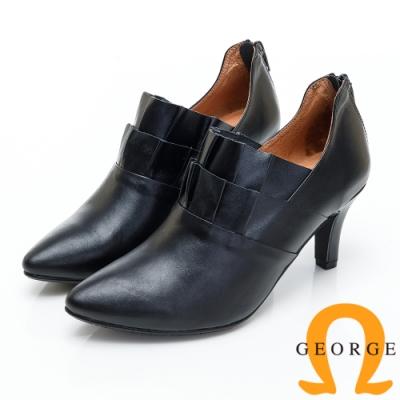 GEORGE 喬治皮鞋 荷花辦造型尖頭踝靴-黑色