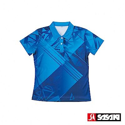 SASAKI 長效性吸濕排汗功能網球短衫-女-法瓷藍/亮藍