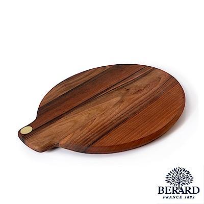 法國Berard畢昂手工核桃木餐桌圓砧板34x36x2.4cm-含收納袋+保養蜂蠟